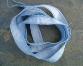 Periwinkle Silk Ribbon (Hand Dyed) for Jewelry Designers\/Lampworkers