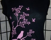 NEW - Birds & the Bees screen print on Black Cap Sleeve tshirt - American Apparel