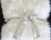 White Shag Faux Fur Throw Blanket Large