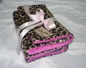 Leopard and minky dot chenille boutique burp cloth set