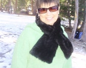 Sumptuously Soft Faux fur pull through SCARF neck wrap ANY color any FABRIC