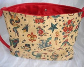 Tattoo flash punk rockabilly baby diaper bag tote or purse choose your own FABRIC