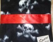 skull and crossbones fleece and satin punk baby blanket