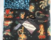 Tattoo  punk rock blue leopard boutique baby blanket