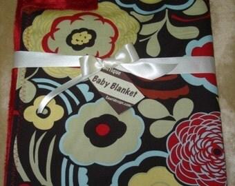 Saari Design Mocca brown and red floral Boutique baby blanket