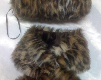 Pull thru faux cheetah mink neck scarf