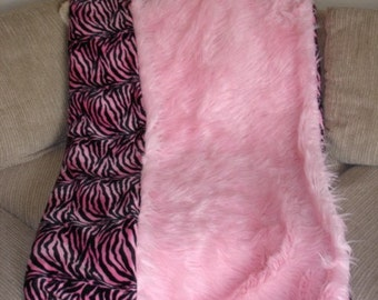 Pink Faux Fur throw blanket with zebra stripe for adult or children