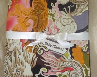 Tattoo dragon baby blanket, tattoo dragon punk blanket, dragon baby blanket, tatsu baby blanket