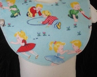 Retro boutique baby bib, children at play baby bib