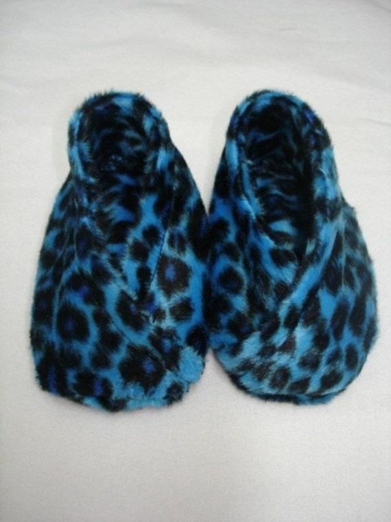 Leopard flat faux fur boutique baby booties