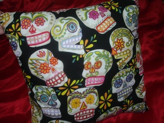 Sugar skulls punk throw pillow