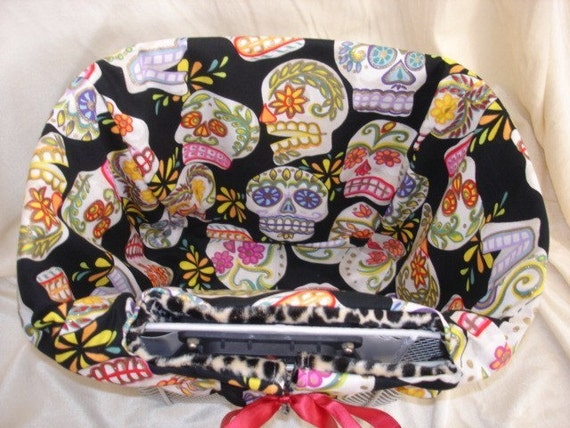 Reversible Bicycle Basket liner Punk Sugar Skulls