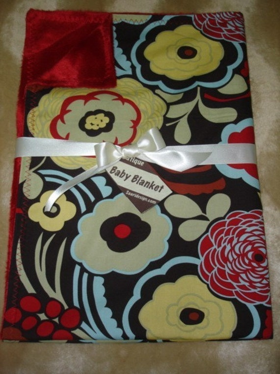 Saari Design Mocca brown and red floral Boutique baby blanket
