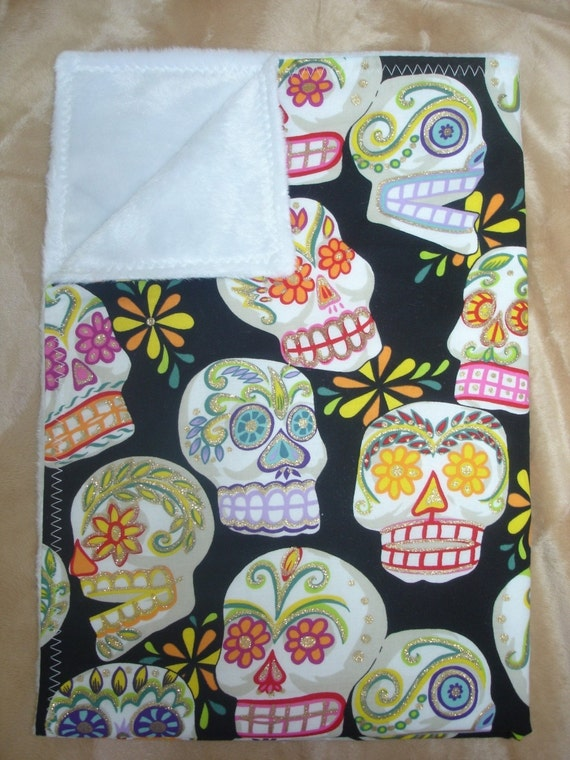 Day of the dead punk rockabilly skulls baby blanket