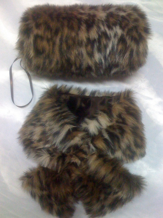 Pull thru faux cheetah mink neck scarf