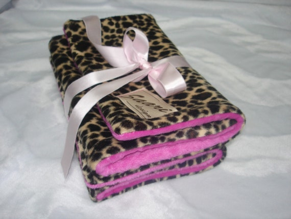 Leopard and minky dot chenille boutique burp cloth set