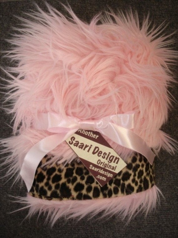leopard and pink shag fur boutique baby blanket