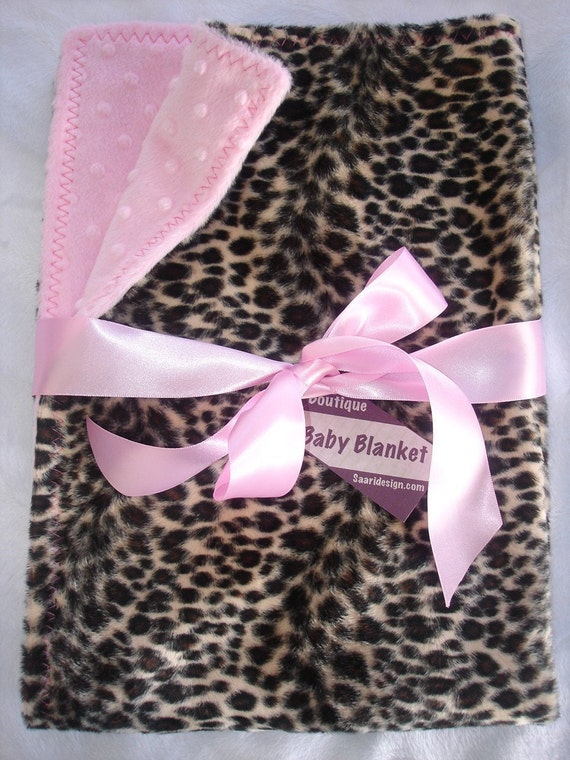 leopard faux fur with pink boutique baby blanket