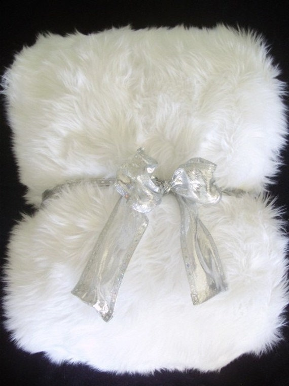 White Shag Faux Fur Boutique Throw Blanket