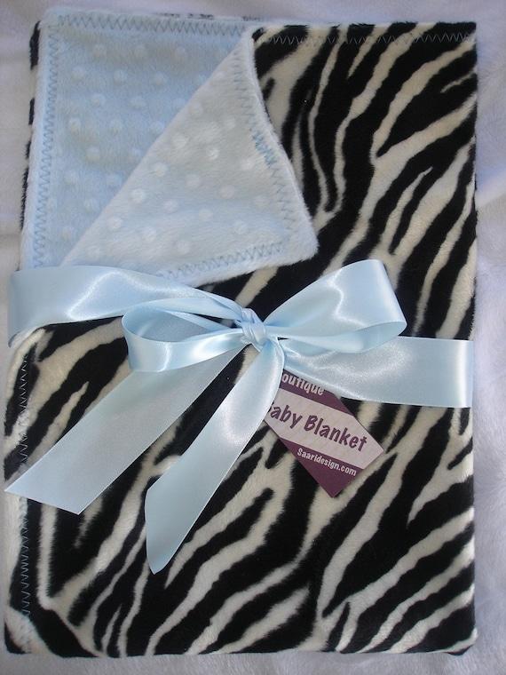 faux fur zebra & chenille baby blanket