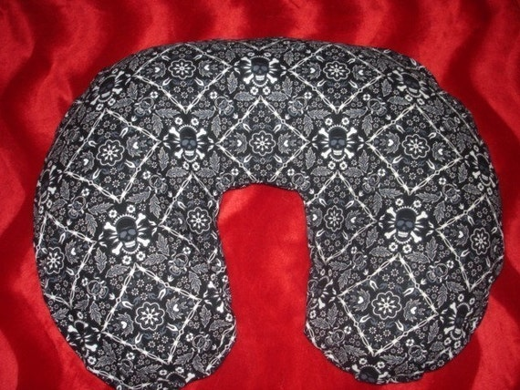 Saari Design boutique skull and crossbone punk baby nursing pillow cover