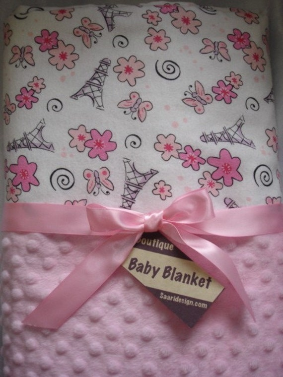 I love Paris in the springtime Boutique baby blanket