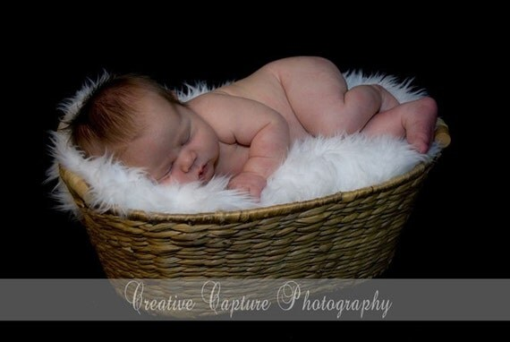 Gorgeous White Shag Faux Fur Boutique Baby Blanket available in white or black