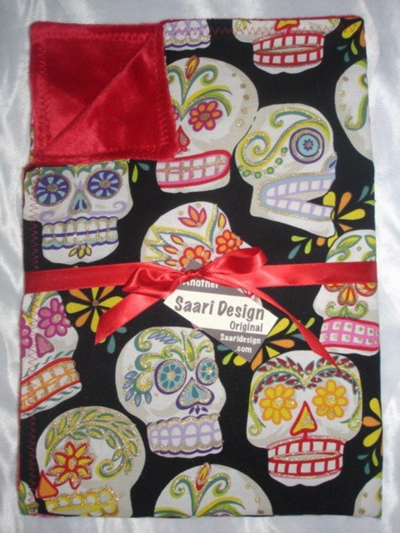 Day of the dead punk rockabilly sugar skulls boutique baby blanket
