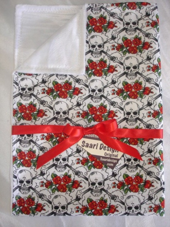 Skull and Roses argyle punk boutique baby blanket