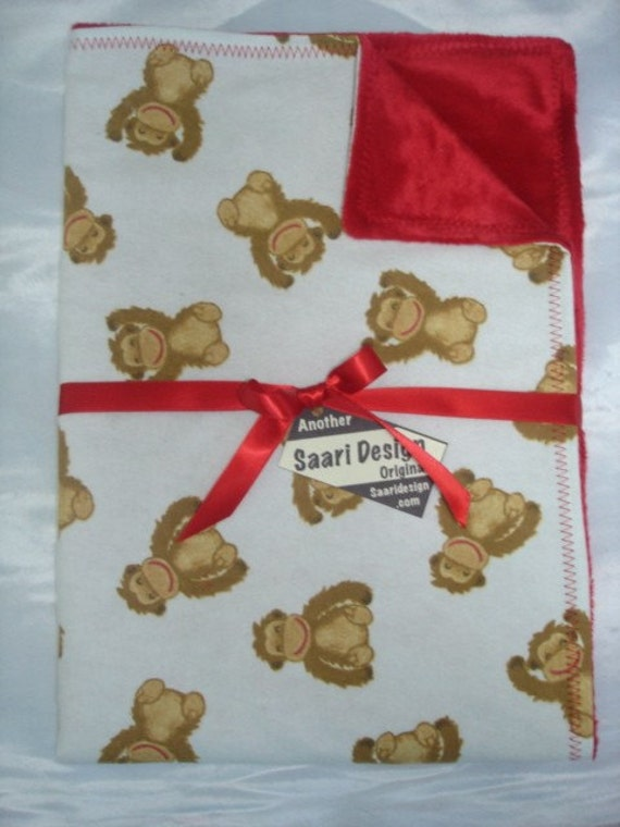 lil monkey boutique baby blanket Saari Design zoo animal