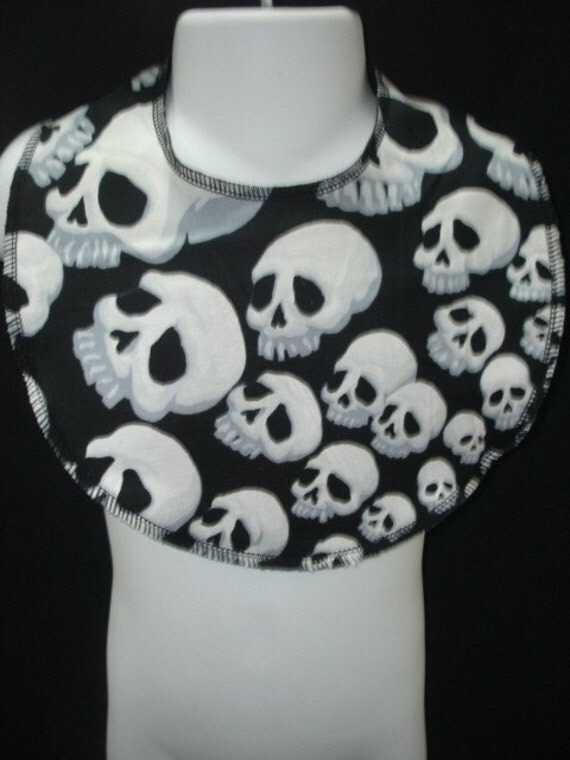 Skulls bib, skulls baby bib, punk rockabilly boutique baby toddler bib