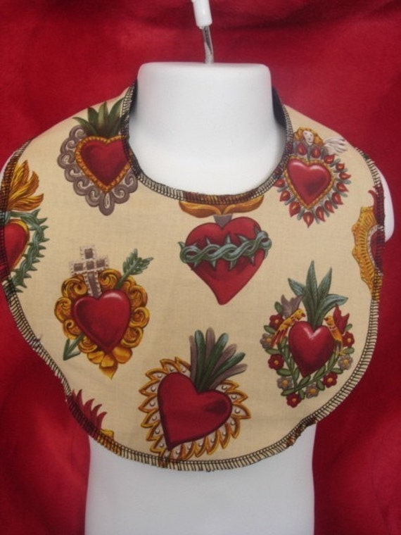 Sacred hearts punk boutique baby bib