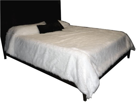 White Shag Faux Fur  Bedspread throw Queen Size or larger