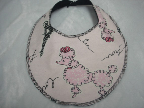 poodles in paris baby bib