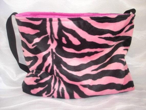 Pink and black zebra diaper bag purse or tote