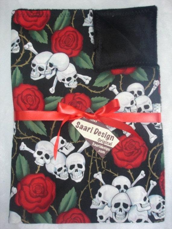 Skulls and roses punk rockabilly baby blanket