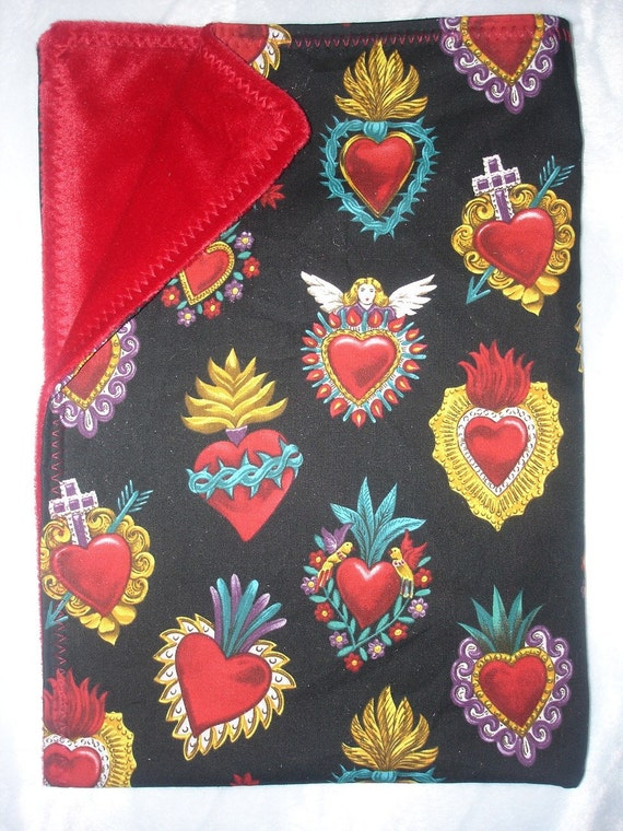 rockabilly punk Corazones sacred hearts boutique baby blanket