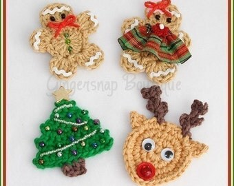 PDF Crochet Pattern - Christmas Embellishments Gingerbread, Reindeer, Tree