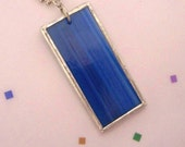 Turquois Blue Stained Glass Soldered Pendant with Chain