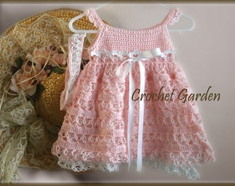 Charlotte Belle - Crochet Pattern Baby Toddler Dress With Headband