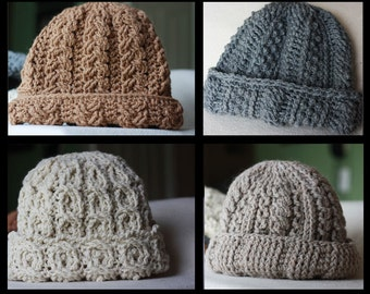 Crochet Hat Pattern Cable Hats Crochet Pattern Canyon River Crochet Hat Patterns For Men- 4 Striking Cable Designs