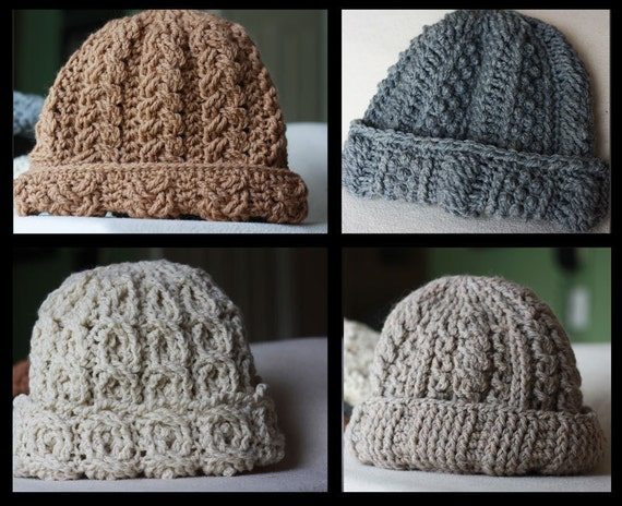 Canyon River Cable Hats Crochet Pattern - 4 Striking Cable Designs