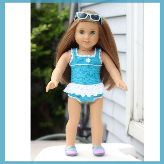 Sea Dreams Bathing Suit Crochet Pattern for 18 inch Dolls and American Girl Doll