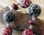 Carved Soapstone Sterling Silver Bracelet Red Blue