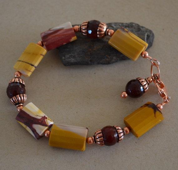 Mookaite Bracelet Faceted Carnelian Copper