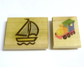 Doodle Magnets - Train and Sailboat