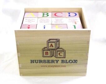 NurseryBlox - 36 Wooden Alphabet Blocks with Classic Nursery Rhymes