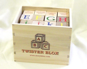 TwisterBlox - 36 Wooden Alphabet Blocks - 44 Classic Tongue Twisters