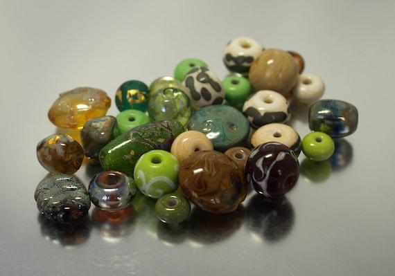 Orphan beads. Forest. Handmade lampwork beads by Josephine Wadman SRA