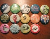 Bicycle-themed 1 inch buttons - set of 14